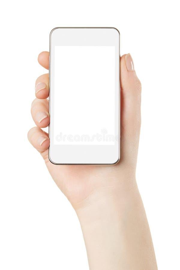 Smartphone à disposition avec l'écran vide images libres de droits