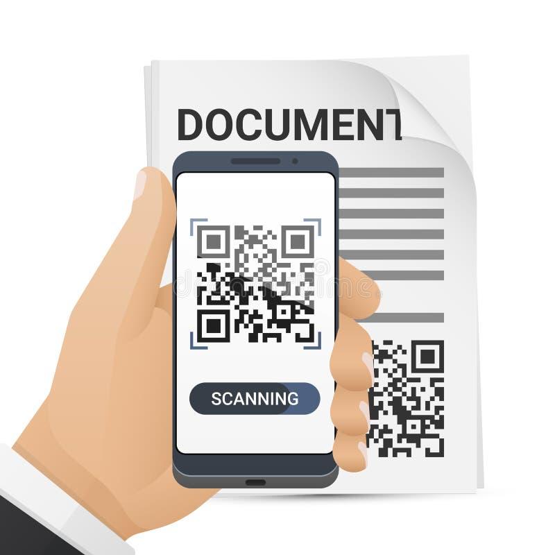 Smartphone équipe dedans la main balayant le code de QR du document Application de scanner de code barres sur l'écran intelligent illustration libre de droits