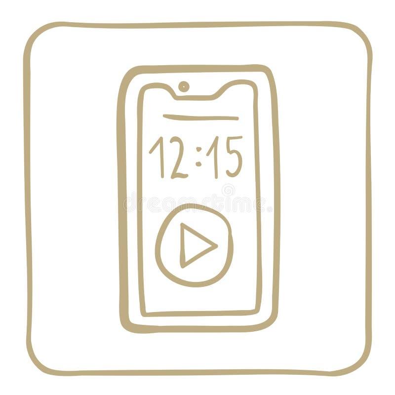 Smartphone - ícone em um claro - quadro marrom Gráficos de vetor ilustração royalty free