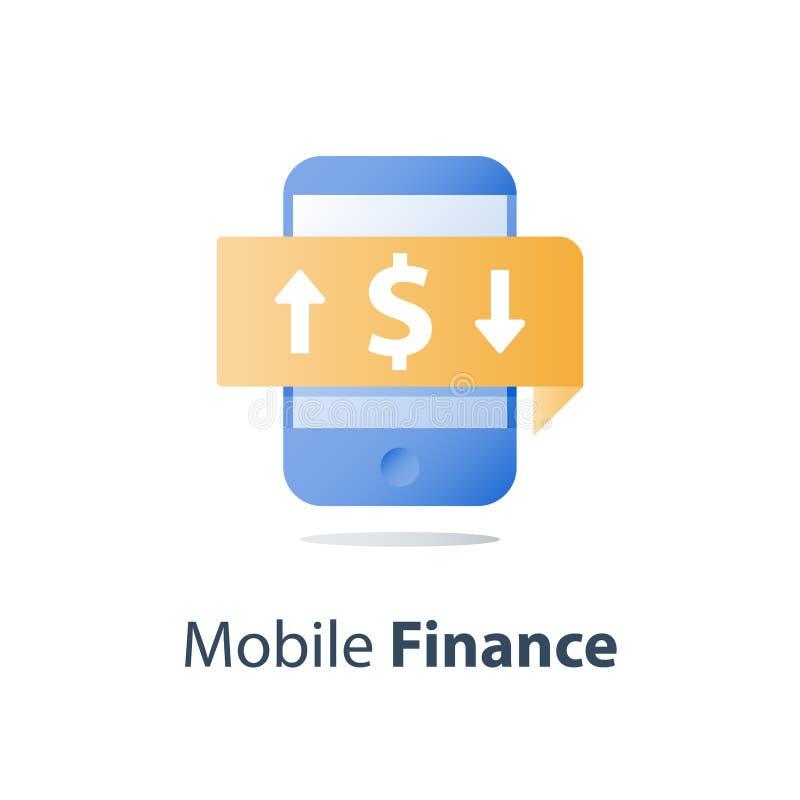 Smartphone и валютная биржа, знак доллара, передвижная оплата, онлайн-банкинг, финансовые обслуживания иллюстрация штока