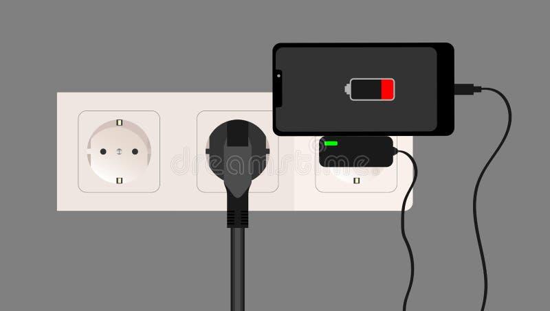 Smartphone ładowarki adaptator i elektryczna nasadka, niski bateryjny powiadomienie, płaski projekt wektor ilustracja wektor