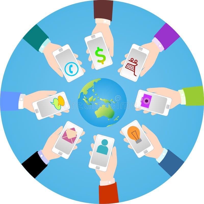 Smartphone świat ilustracji