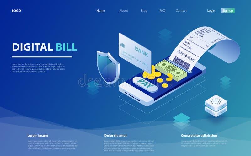 Smartphone, έλεγχος παραλαβών εγγράφου, σωρός των νομισμάτων Ψηφιακός λογαριασμός για την κινητή τραπεζική έννοια Διαδικτύου Σε α διανυσματική απεικόνιση