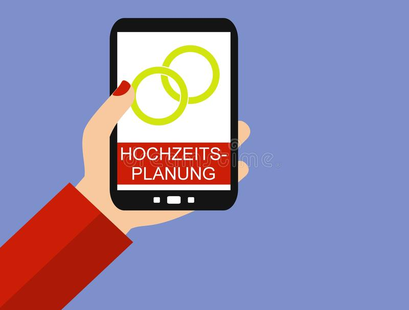 Smartphone: Γάμος που προγραμματίζει τα γερμανικά - επίπεδο σχέδιο απεικόνιση αποθεμάτων