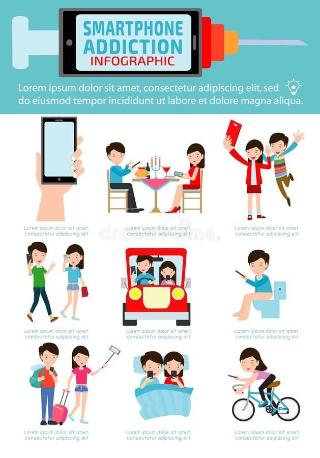 Smartphone εθισμού Infographics διανυσματικό σχέδιο χαρακτήρα κινουμένων σχεδίων εικονιδίων απεικόνισης επίπεδο ελεύθερη απεικόνιση δικαιώματος
