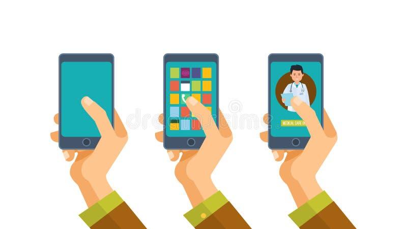 Smartphone εκμετάλλευσης χεριών με τον αρσενικό γιατρό στην οθόνη διανυσματική απεικόνιση