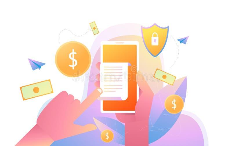 Smartphone εκμετάλλευσης χεριών με το έγγραφο λογαριασμών τιμολογίων, επίπεδο κινητό τηλέφωνο ύφους με το έγγραφο λογαριασμών τιμ διανυσματική απεικόνιση