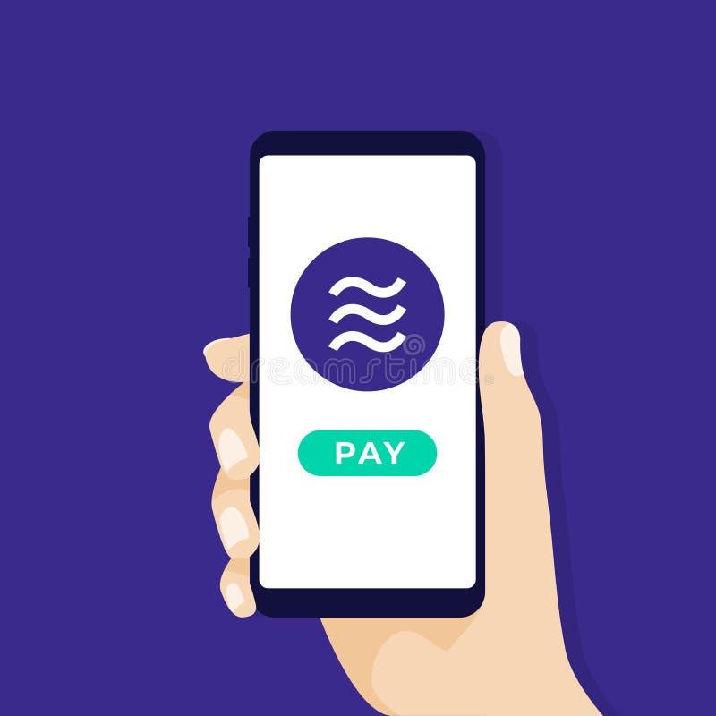 Smartphone εκμετάλλευσης χεριών με το νόμισμα νομισμάτων Libra Σε απευθείας σύνδεση Crypto επιχειρησιακή έννοια νομίσματος απεικόνιση αποθεμάτων
