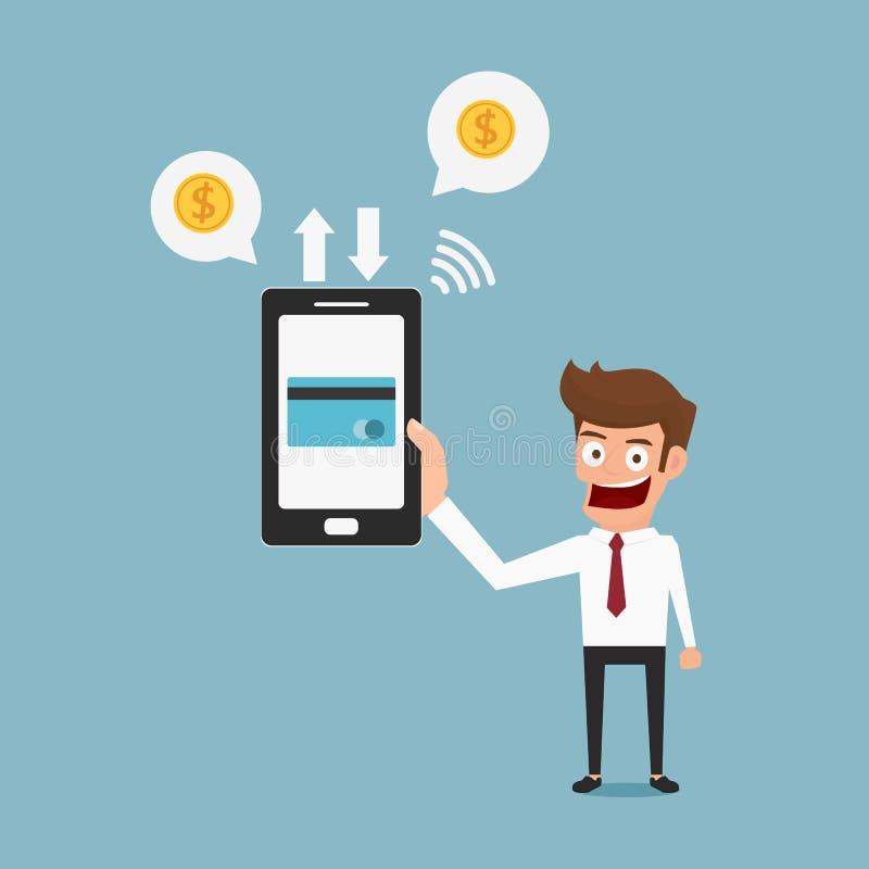 Download Smartphone εκμετάλλευσης επιχειρηματιών Κινητή πιστωτική κάρτα πληρωμής Διανυσματική απεικόνιση - εικονογραφία από επιχειρηματίας, χρήματα: 62705920