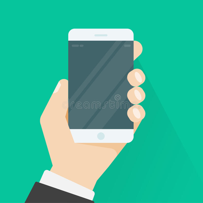 Smartphone εκμετάλλευσης χεριών ή κινητή τηλεφωνική διανυσματική απεικόνιση διανυσματική απεικόνιση