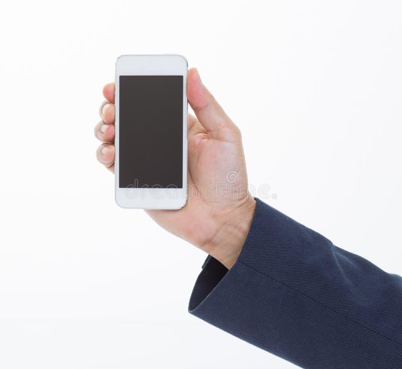 Smartphone εκμετάλλευσης χεριών επιχειρηματιών στοκ εικόνα με δικαίωμα ελεύθερης χρήσης