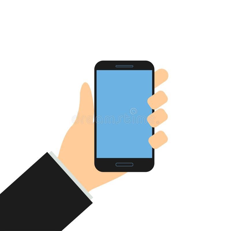 Smartphone εκμετάλλευσης χεριών επιχειρηματιών ελεύθερη απεικόνιση δικαιώματος