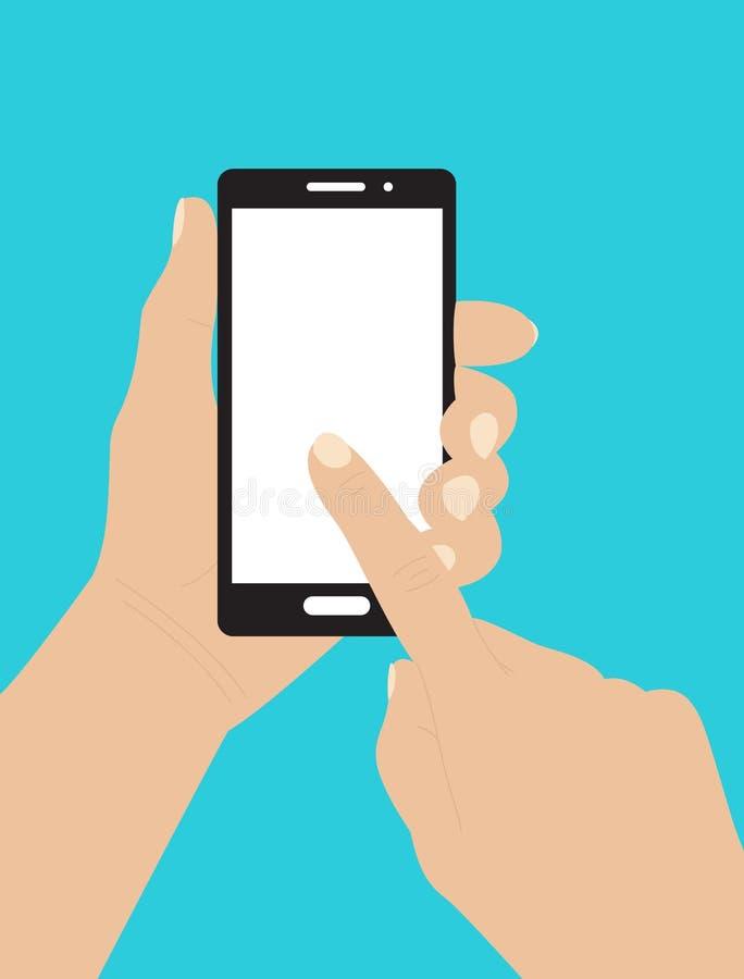 Smartphone εκμετάλλευσης χεριών και σχετικά με την οθόνη ελεύθερη απεικόνιση δικαιώματος