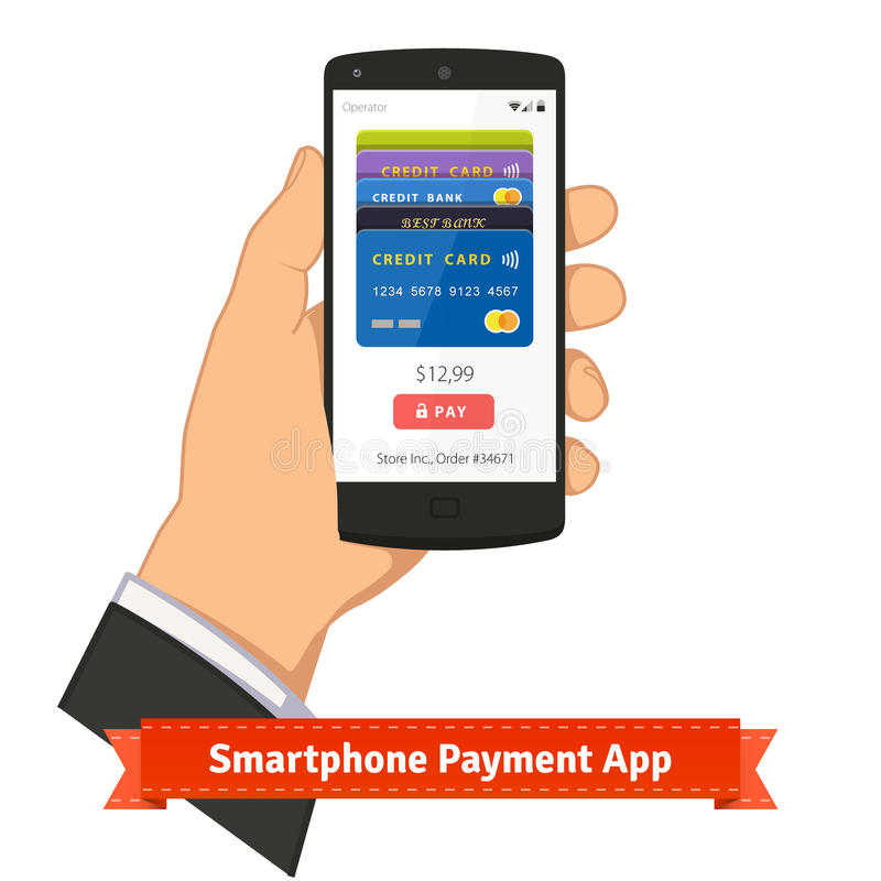 Smartphone εκμετάλλευσης χεριών με την πληρωμή app στην οθόνη διανυσματική απεικόνιση