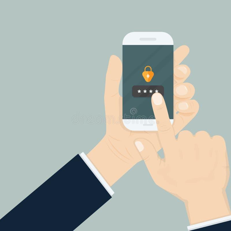 Smartphone εκμετάλλευσης χεριών πληκτρολογώντας τον προσωπικό κωδικό Κινητό τηλέφωνο διανυσματική απεικόνιση