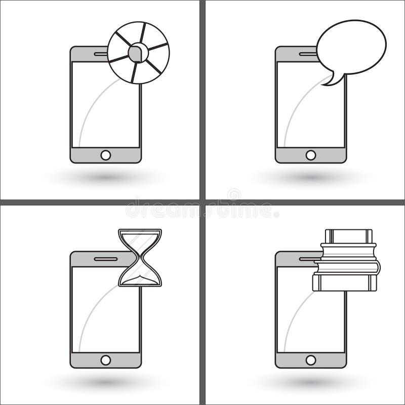 Smartphone - διάγραμμα πιτών Τηλέφωνο - σωρός των βιβλίων Κινητό τηλέφωνο - σύννεφο μηνυμάτων Τηλέφωνο - κλεψύδρα ελεύθερη απεικόνιση δικαιώματος