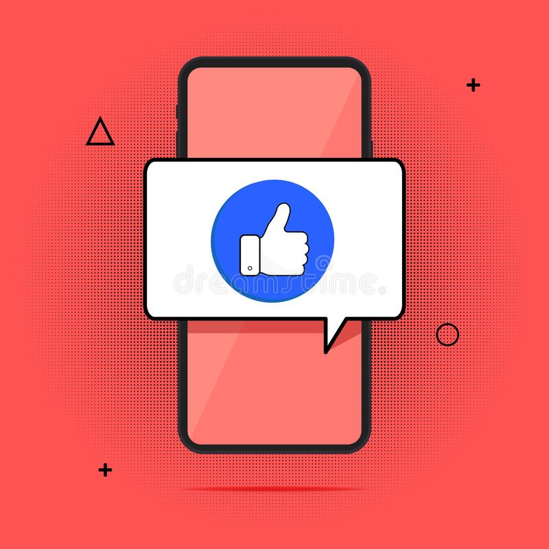 Smartphone και δάχτυλο επάνω, επίπεδο κινητό εγκεκριμένο τηλέφωνο μήνυμα κινούμενων σχεδίων Το τηλέτυπο, η ιδέα ενός επιτυχούς πρ απεικόνιση αποθεμάτων