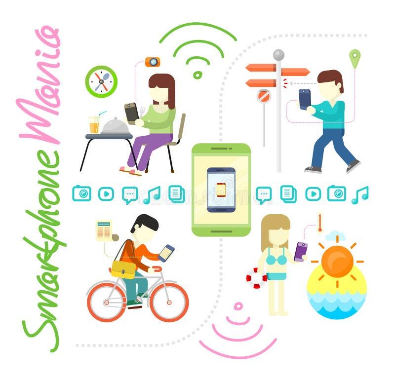 Smartphone και κοινωνική μανία μέσων απεικόνιση αποθεμάτων