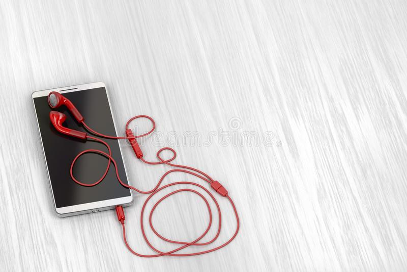 Smartphone και κόκκινα ακουστικά απεικόνιση αποθεμάτων