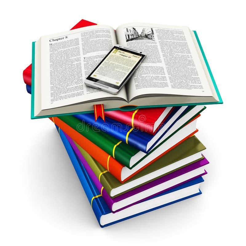 Smartphone και σωρός των βιβλίων χρώματος ελεύθερη απεικόνιση δικαιώματος