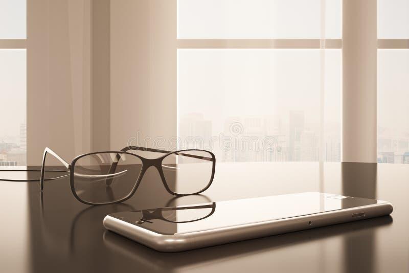 Smartphone και τονισμός γυαλιών απεικόνιση αποθεμάτων