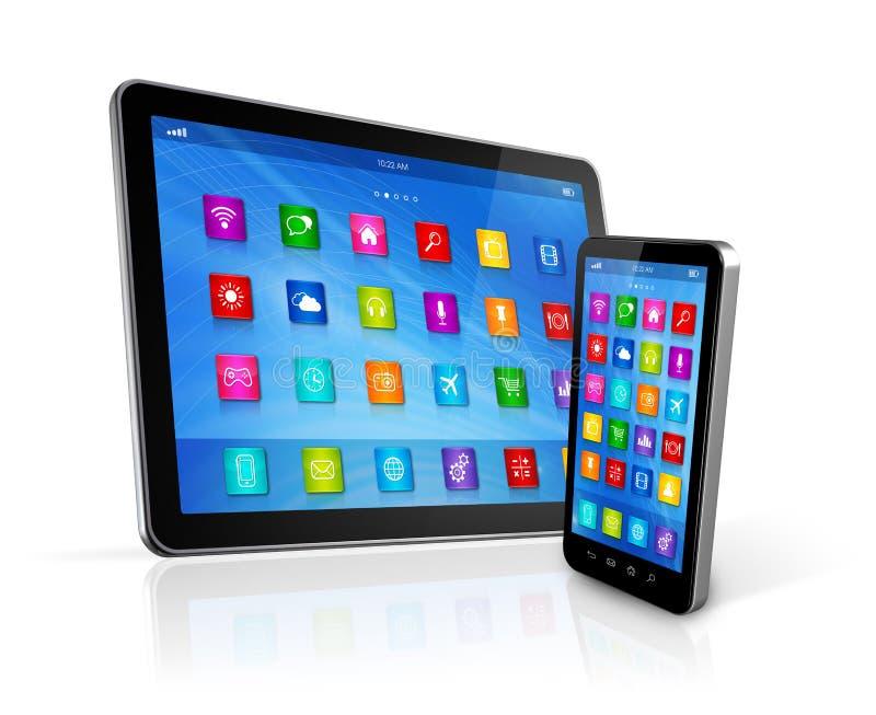 Smartphone και ψηφιακός υπολογιστής ταμπλετών ελεύθερη απεικόνιση δικαιώματος