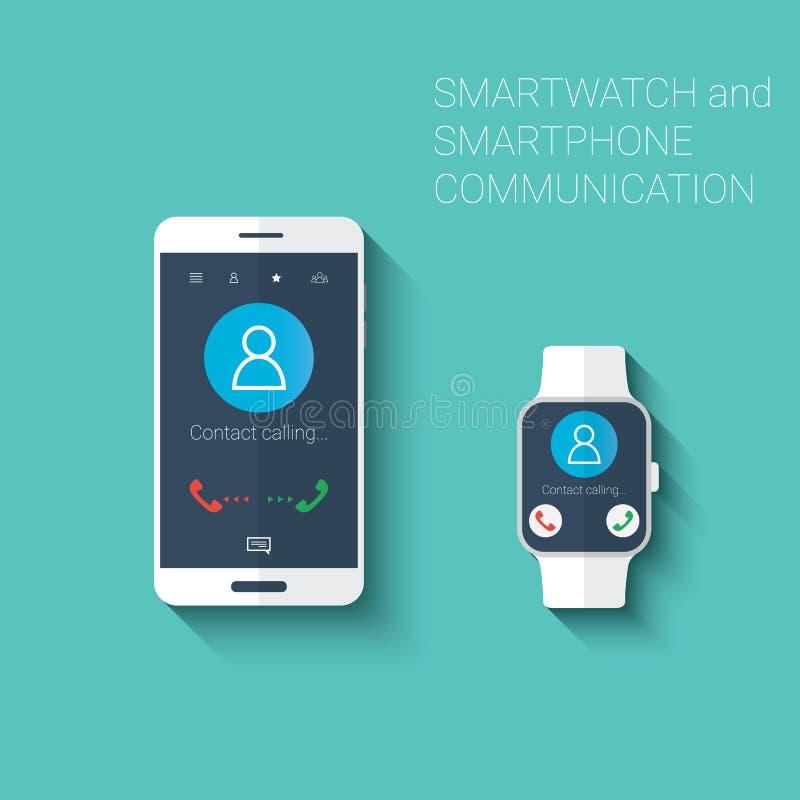 Smartphone και smartwatch κλήση της εξάρτησης εικονιδίων ενδιάμεσων με τον χρήστη Φορετή έννοια τεχνολογίας στο σύγχρονο επίπεδο  ελεύθερη απεικόνιση δικαιώματος