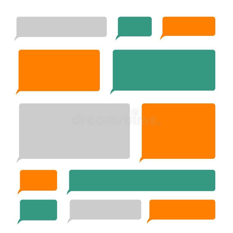 Smartphone κενό sms διανυσματικό σύνολο φυσαλίδων μηνυμάτων κειμένων κινητό απεικόνιση αποθεμάτων