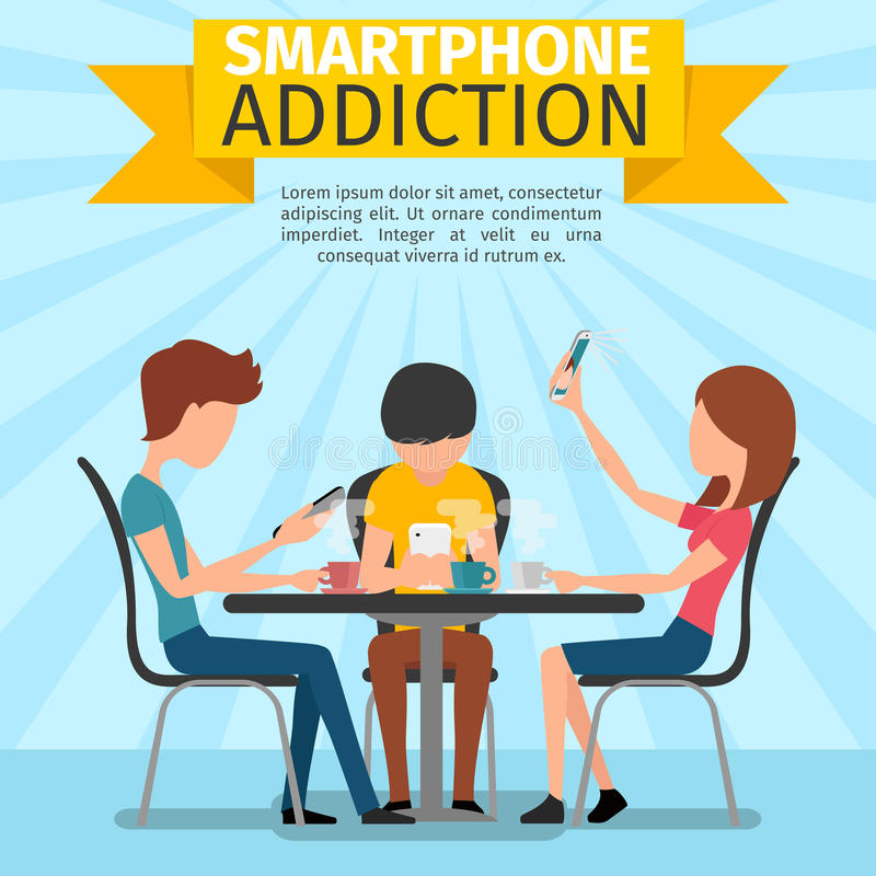 Smartphone, κοινωνικοί μέσα και εθισμός Διαδικτύου ελεύθερη απεικόνιση δικαιώματος