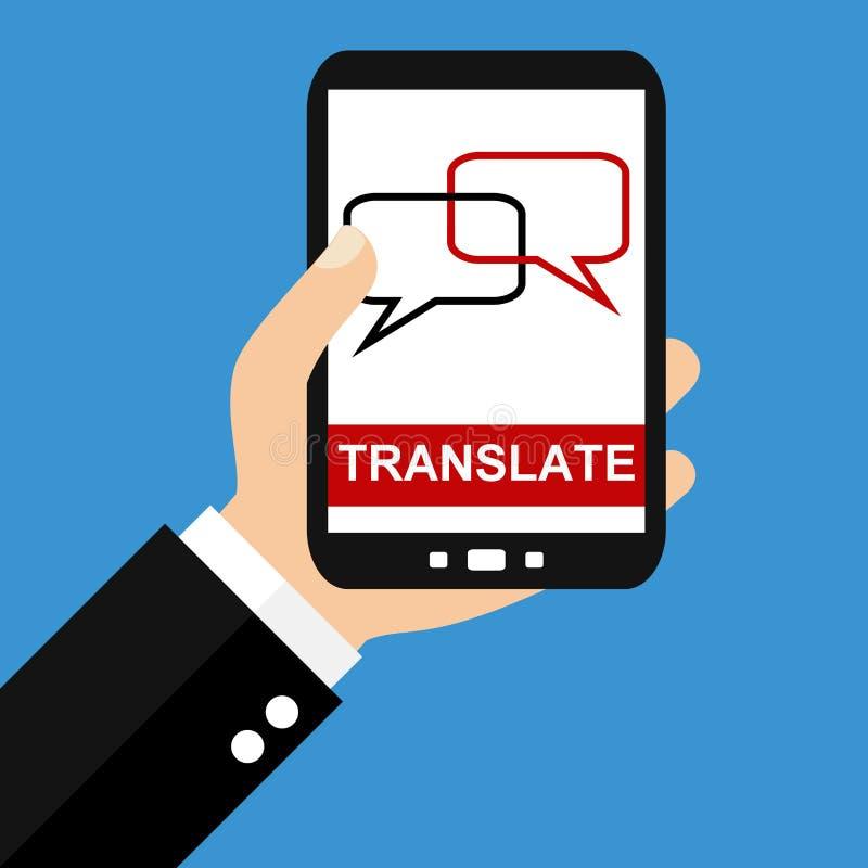 Smartphone: Μεταφράστε - επίπεδο σχέδιο ελεύθερη απεικόνιση δικαιώματος
