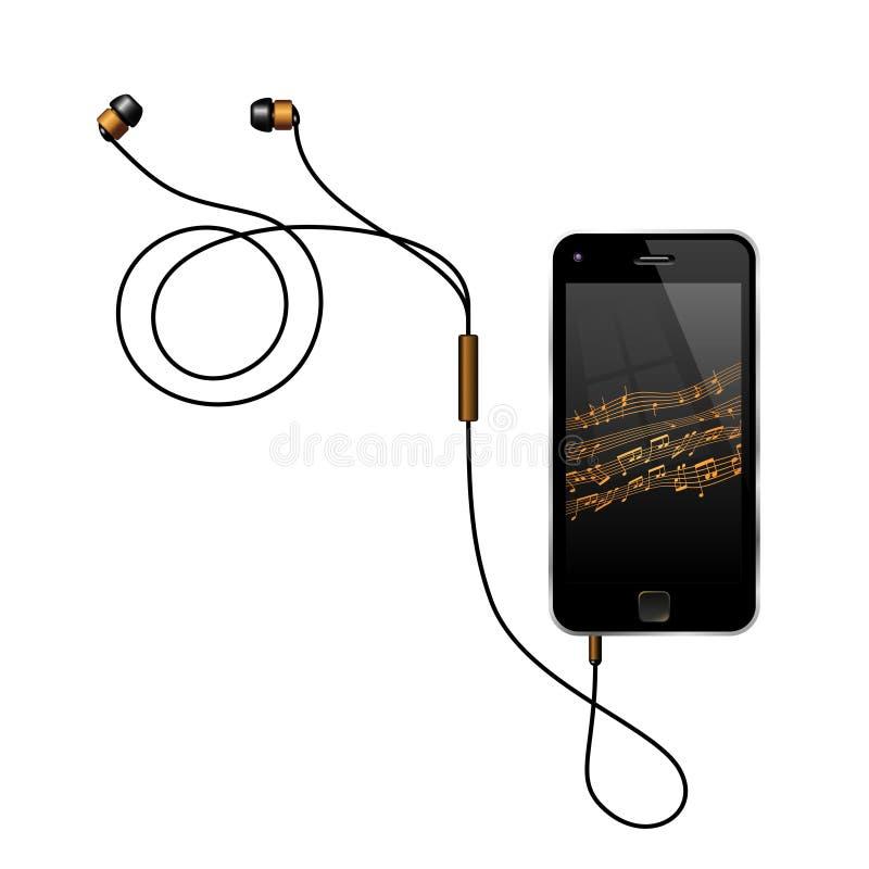 Smartphone με τα ακουστικά που παίζουν τη μουσική απεικόνιση αποθεμάτων