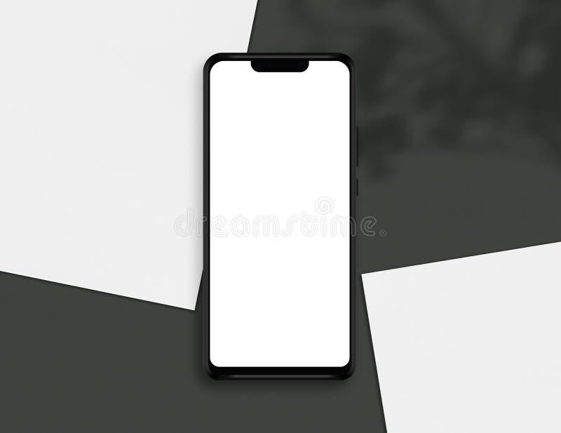 Smartphone με την κενή οθόνη Επίδειξη Smartphone με τη σκιά των Λευκών Βίβλων και φύλλων ελεύθερη απεικόνιση δικαιώματος