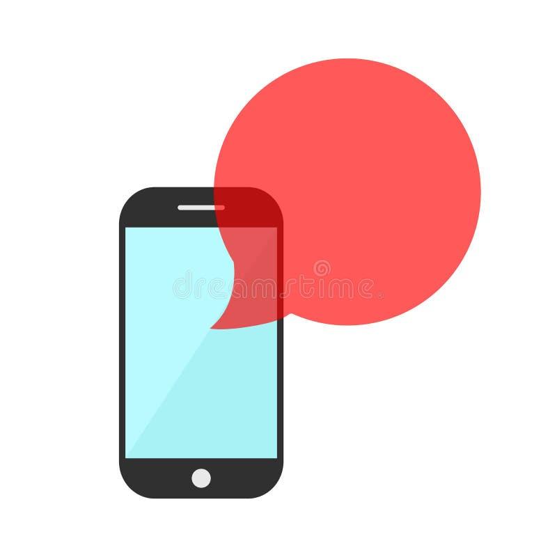 Smartphone με την κόκκινη διαφανή λεκτική φυσαλίδα ελεύθερη απεικόνιση δικαιώματος