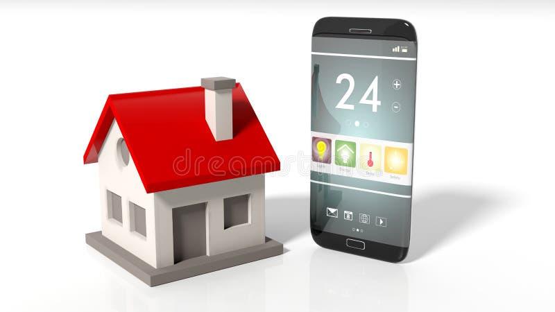 Smartphone με την οθόνη εγχώριου τηλεχειρισμού και το εικονίδιο σπιτιών διανυσματική απεικόνιση