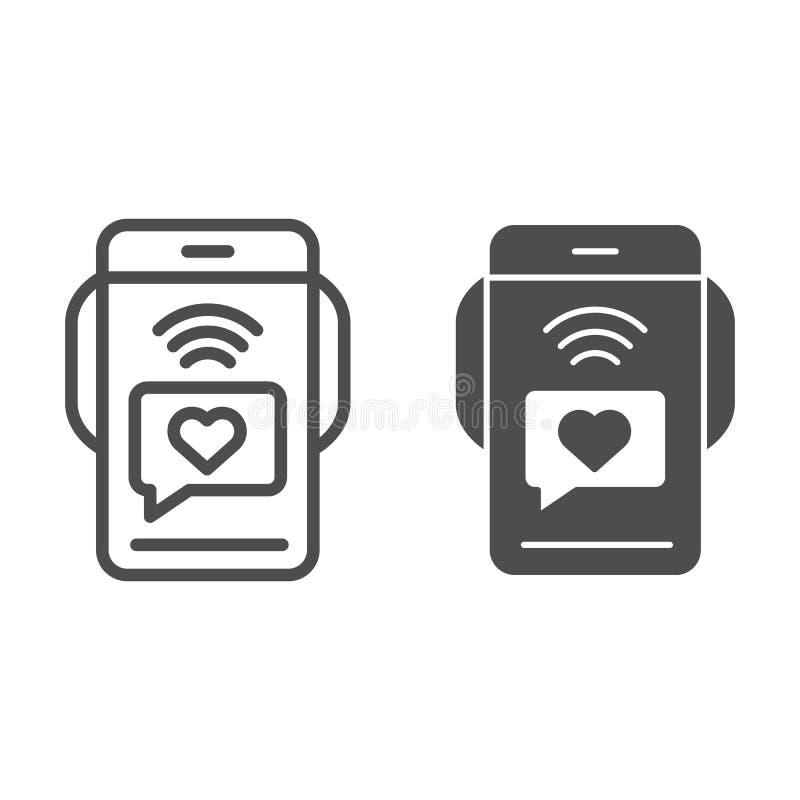 Smartphone με τη γραμμή και glyph το εικονίδιο μηνυμάτων αγάπης Ρομαντική διανυσματική απεικόνιση sms που απομονώνεται στο λευκό  διανυσματική απεικόνιση