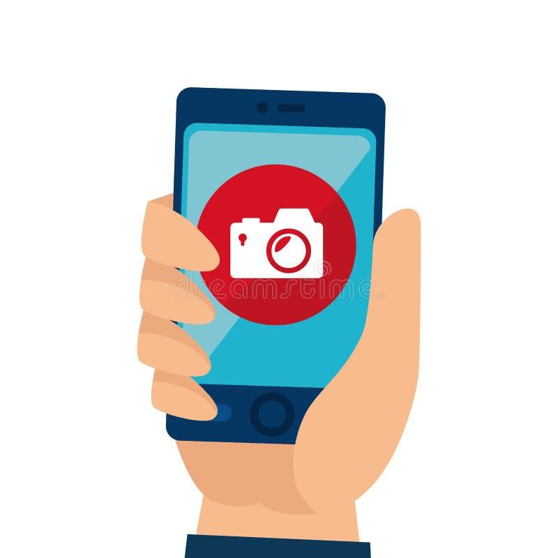 smartphone με τη κάμερα app διανυσματική απεικόνιση