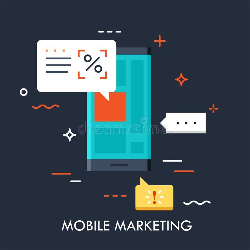 Smartphone με τις διαφημίσεις στις φυσαλίδες οθόνης και ομιλίας απεικόνιση αποθεμάτων