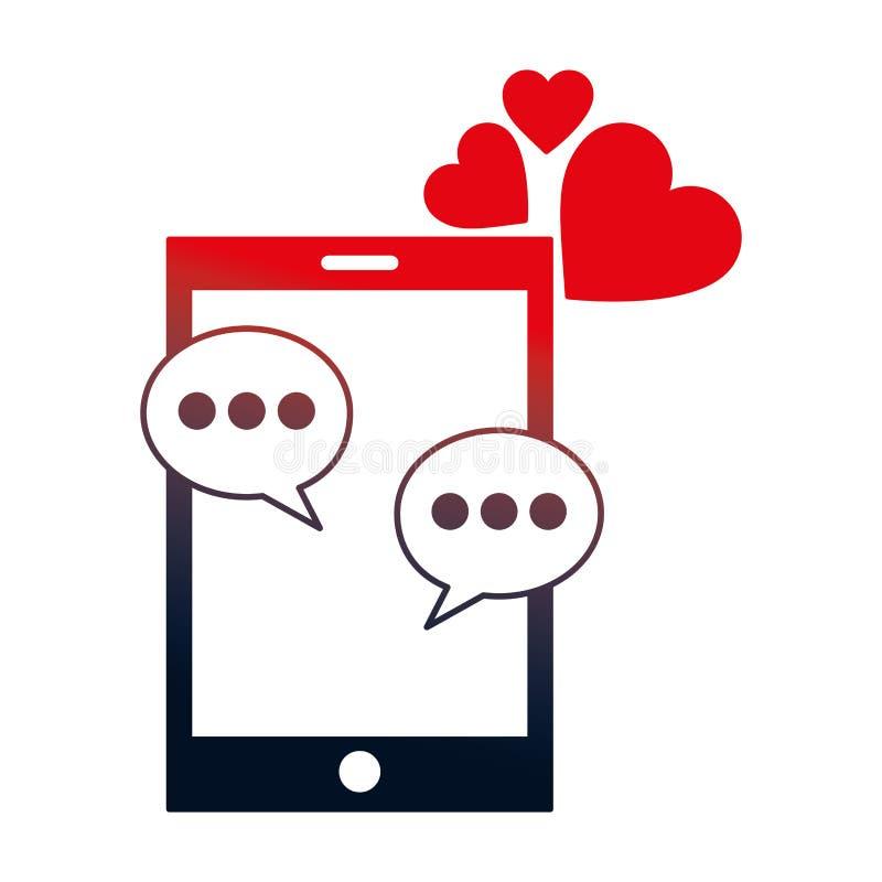 Smartphone με τις καρδιές και τις λεκτικές φυσαλίδες απεικόνιση αποθεμάτων