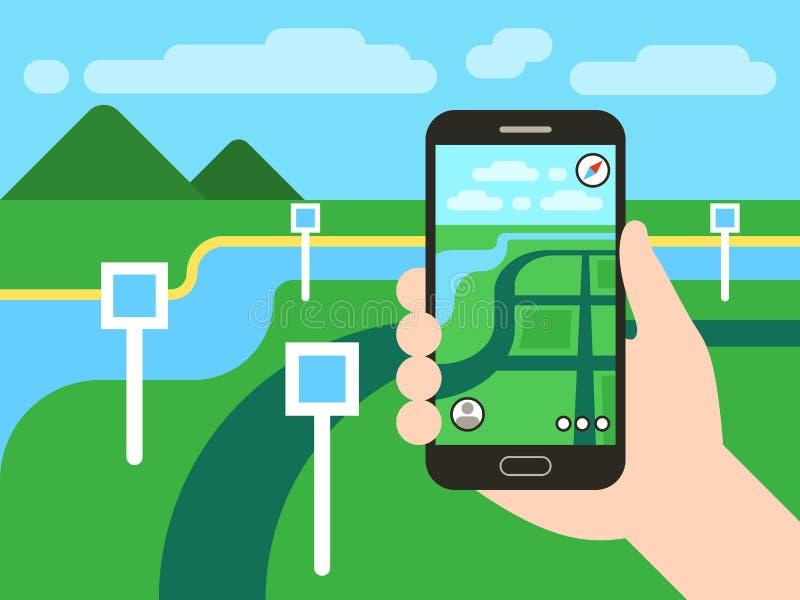 Smartphone με τις κινητές καρφίτσες συστημάτων ναυσιπλοΐας ΠΣΤ και χαρτών Διανυσματική app έννοια παιχνιδιών απεικόνιση αποθεμάτων