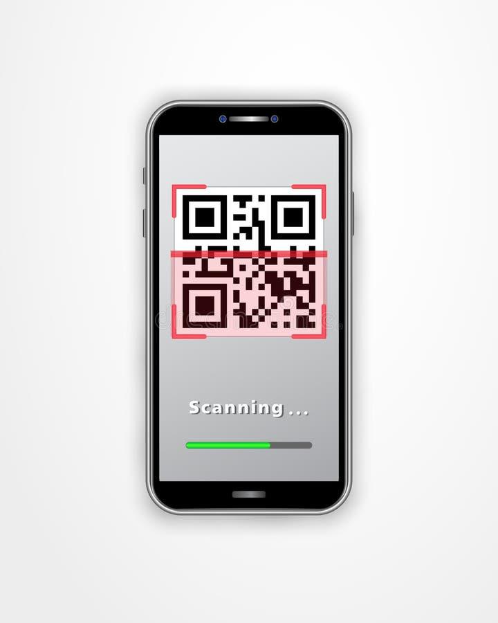 Smartphone με τον ανιχνευτή κινητός app κώδικα QR και φόρτωσης φραγμός που απομονώνεται στο άσπρο υπόβαθρο Πληρωμή, on-line που ψ διανυσματική απεικόνιση