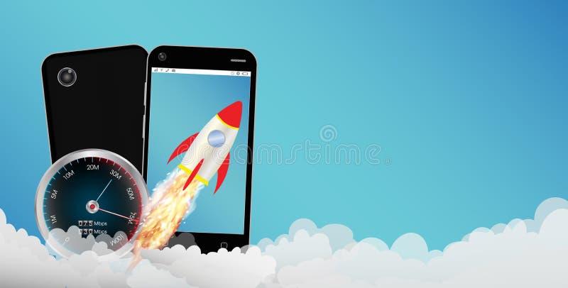 Smartphone με τον πύραυλο παιχνιδιών διανυσματική απεικόνιση