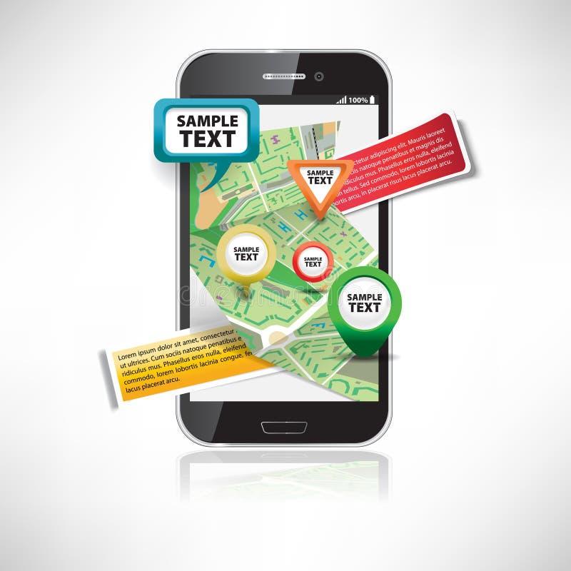 Smartphone με τους χάρτες διανυσματική απεικόνιση