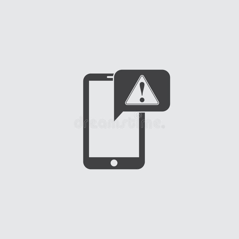 Smartphone με το εικονίδιο προσοχής σε ένα επίπεδο σχέδιο στο μαύρο χρώμα Διανυσματική απεικόνιση EPS10 διανυσματική απεικόνιση