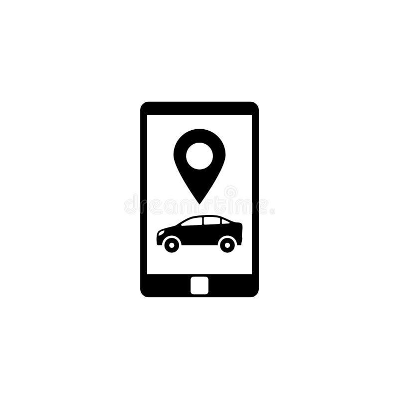 Smartphone με το επίπεδο διανυσματικό εικονίδιο υπηρεσιών ταξί ελεύθερη απεικόνιση δικαιώματος