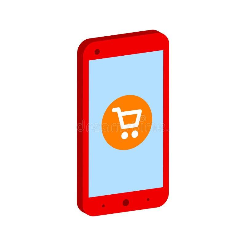 Smartphone με το κάρρο αγορών, κινητό σύμβολο έννοιας αγορών διανυσματική απεικόνιση