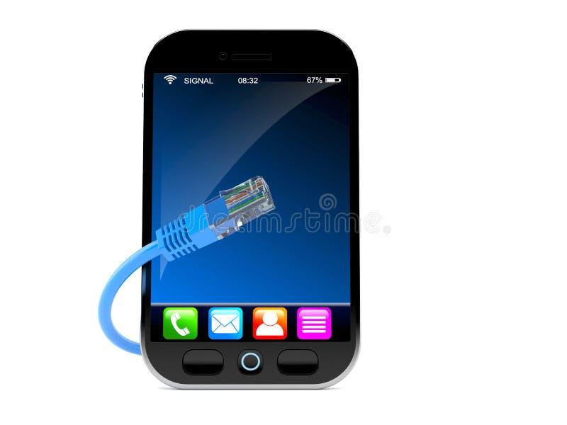Smartphone με το καλώδιο δικτύων διανυσματική απεικόνιση