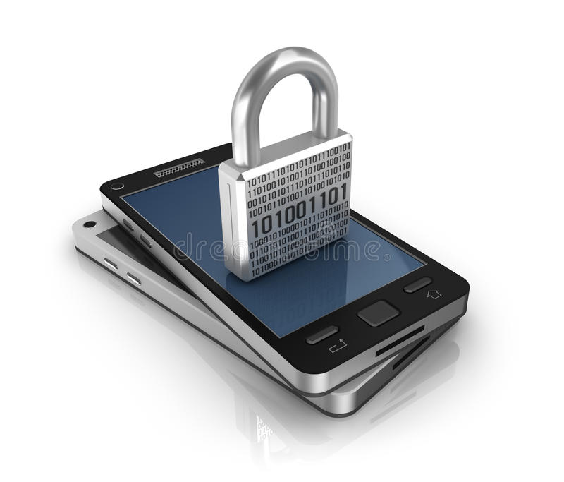 Smartphone με το κλείδωμα απομονωμένο λευκό ασφάλειας ανασκόπησης έννοια απεικόνιση αποθεμάτων
