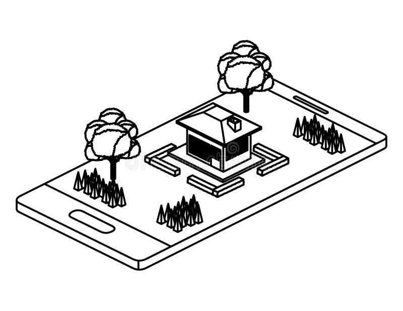 Smartphone με το στρατόπεδο και οικοδόμηση isometric διανυσματική απεικόνιση