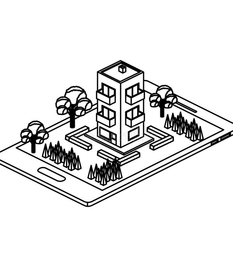 Smartphone με το στρατόπεδο και οικοδόμηση isometric ελεύθερη απεικόνιση δικαιώματος