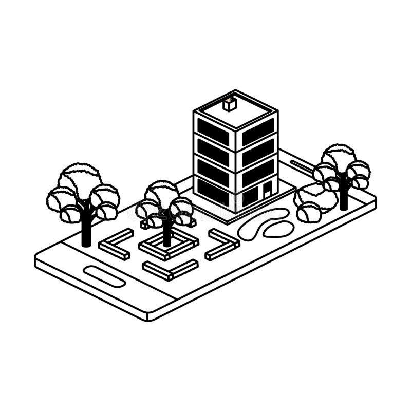 Smartphone με το στρατόπεδο και οικοδόμηση isometric απεικόνιση αποθεμάτων